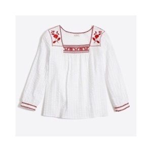 J Crew | Embroidered Peasant Top In White & Red